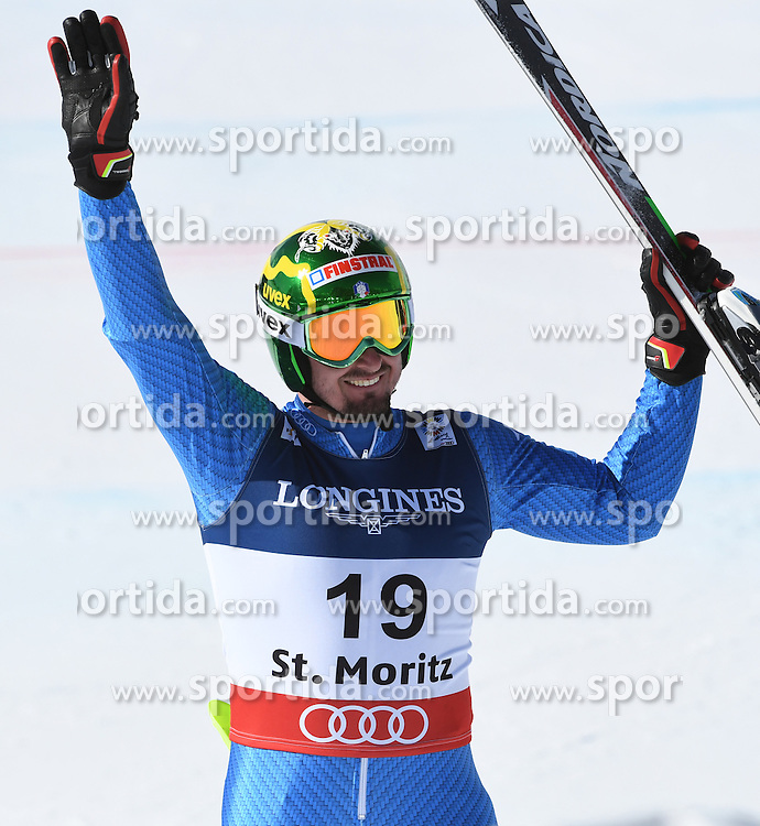 13.02.2017, St. Moritz, SUI, FIS Weltmeisterschaften Ski Alpin, St. Moritz 2017, alpine Kombination, Herren, Slalom, im Bild Dominik Paris (ITA) // Dominik Paris of Italy reacts after his run of Slalom competition for the men's Alpine combination of the FIS Ski World Championships 2017. St. Moritz, Switzerland on 2017/02/13. EXPA Pictures &copy; 2017, PhotoCredit: EXPA/ Sammy Minkoff<br /> <br /> *****ATTENTION - OUT of GER*****