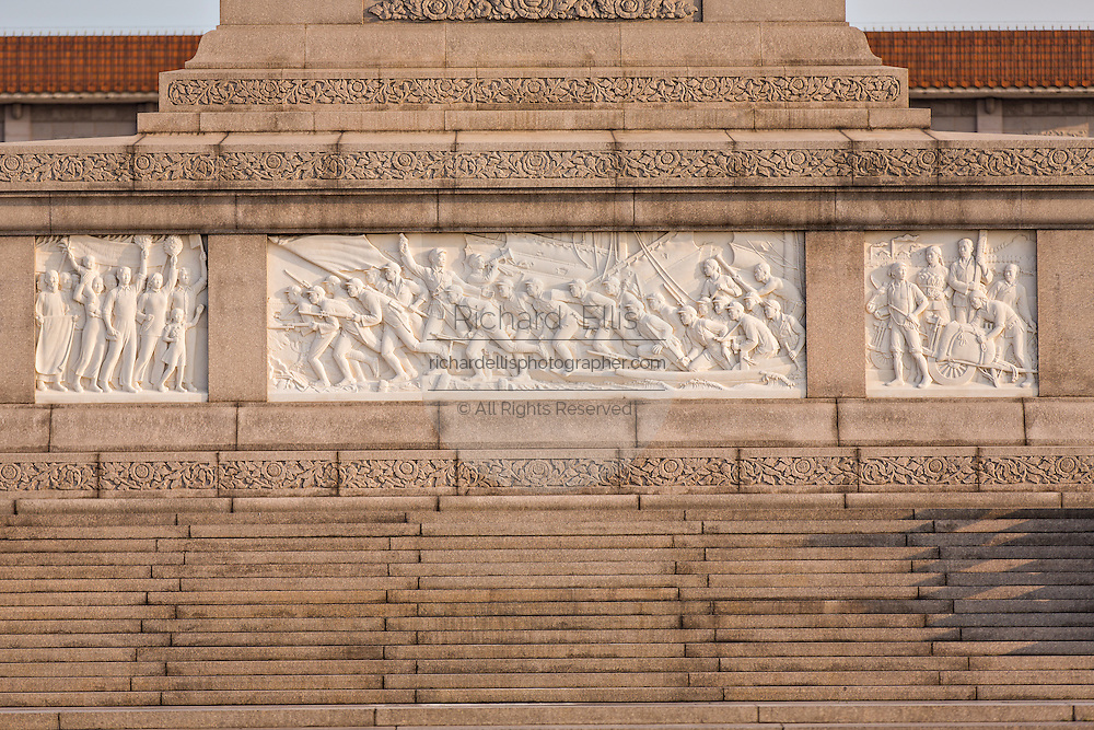 Bas-reliefs on the Monument to the People's Heroes in Tian'an Men square in Beijing, China