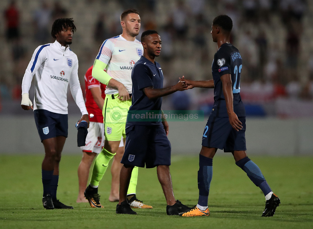 England's Marcus Rashford and Raheem Sterling during the 2018 FIFA World Cup Qualifying, Group F match at the National Stadium, Ta' Qali. PRESS ASSOCIATION Photo. Picture date: Friday September 1, 2017. See PA story SOCCER Malta. Photo credit should read: Nick Potts/PA Wire. RESTRICTIONS: Use subject to FA restrictions. Editorial use only. Commercial use only with prior written consent of the FA. No editing except cropping.