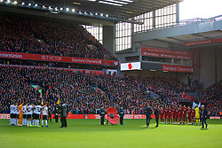 LIVERPOOL, ENGLAND - Sunday, November 11, 2018: Liverpool and Fulham players and supporters stand for a moment's silence to remember Armistice Day before the FA Premier League match between Liverpool FC and Fulham FC at Anfield. (Pic by David Rawcliffe/Propaganda)