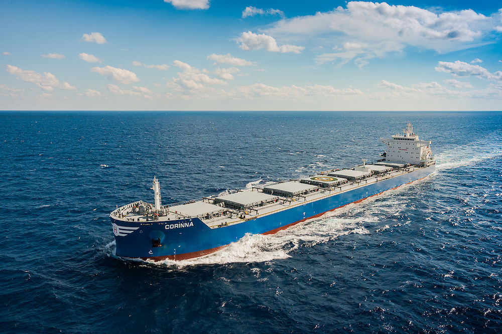 Ocean Transport, Bulk Carrier, aerial photograph from helicopter