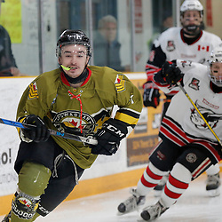 "TRENTON, ON  - MAY 4,  2017: Canadian Junior Hockey League, Central Canadian Jr. ""A"" Championship. The Dudley Hewitt Cup. Game 5 between The Georgetown Raiders and The Powassan Voodoos.  Shane Beaulieu #7 of the Powassan Voodoos during the first period <br /> (Photo by Amy Deroche / OJHL Images)"