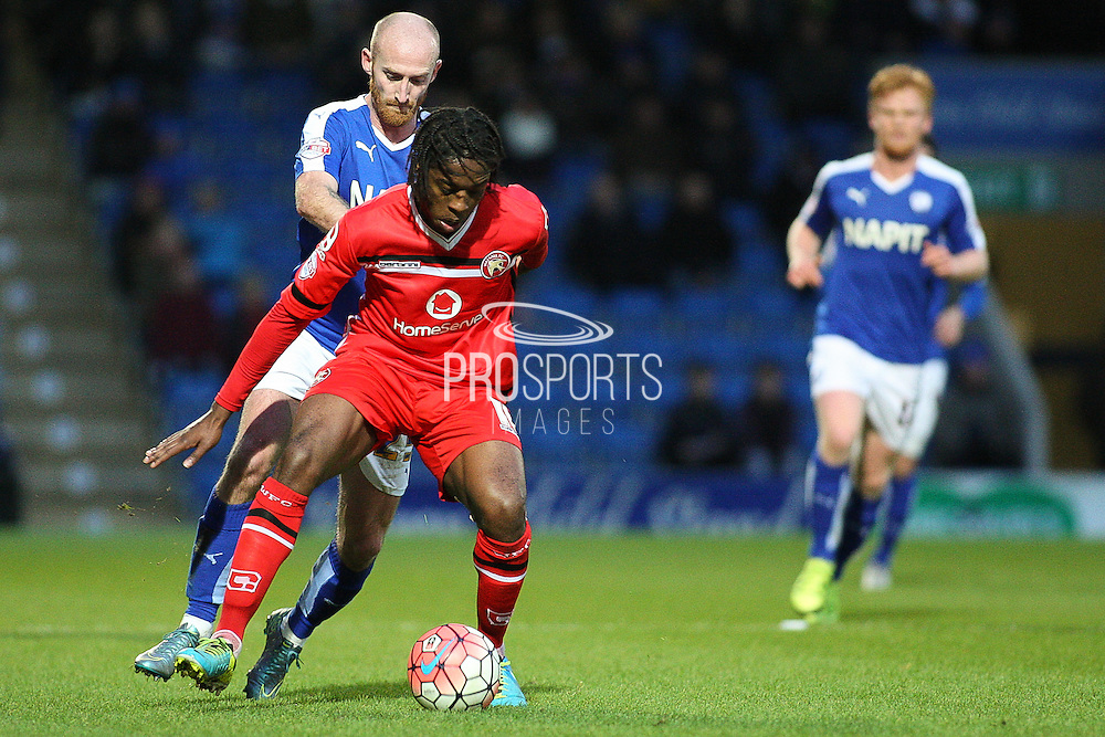 Walsall FC midfielder Romaine Sawyers under pressure during the The FA Cup match between Chesterfield and Walsall at the Proact stadium, Chesterfield, England on 5 December 2015. Photo by Aaron Lupton.