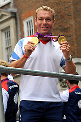 Chris Hoy with other Team GB Athletes and Medal Winners parade through the streets on The 2012 Olympic Celebration Parade, London, Monday September 10, 2012. Photo By Chris Josepth/i-Images