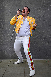 © Licensed to London News Pictures. 28/05/2017. London, UK.  A man dressed as the late Freddie Mercury at MCM Comic Con taking place at Excel in East London.  The three day event celebrates popular comic books, anime, games, television and movies.  Many attendees take the opportunity to dress as their favourite characters.    Photo credit : Stephen Chung/LNP