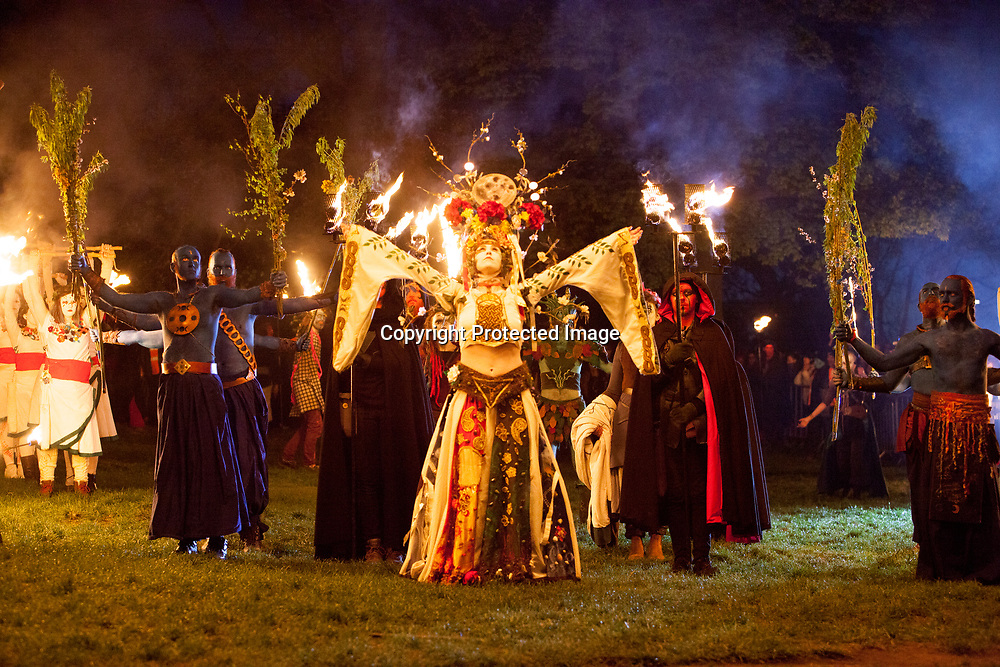 Edinburgh, Scotland. UK. 30th April 2018. Beltane 2018 display in Calton Hill. Pako Mera