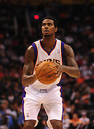 Oct. 22 2010; Phoenix, AZ, USA; Phoenix Suns forward Earl Clark (55) shoots a free throw during the first half against the Denver Nuggets during a preseason game at the US Airways Center. The Nuggets defeated the Suns 144 - 106. Mandatory Credit: Jennifer Stewart-US PRESSWIRE.