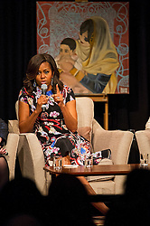 © Licensed to London News Pictures. 16/06/2015. London, UK. L to R First lady MICHELLE OBAMA takes part in a questions and answers session during a visit to Mulbery School For Girls in east London. Photo credit: Ben Cawthra/LNP