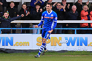 Matt Lund celebrates 2-2 during the Sky Bet League 1 match between Rochdale and Swindon Town at Spotland, Rochdale, England on 30 April 2016. Photo by Daniel Youngs.