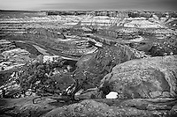 Black and white view of Dead Horse Point State Park in Southeast Utah on an early morning Winter as the sun rises.