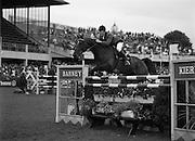"08/08/1987<br /> 08/08/1987<br /> 08 August 1987<br /> RDS Horse Show, Ballsbridge, Dublin. The Irish Trophy - Grand Prix of Ireland. Michael Whitaker (Great Britain) on ""Next Warrenpoint""."
