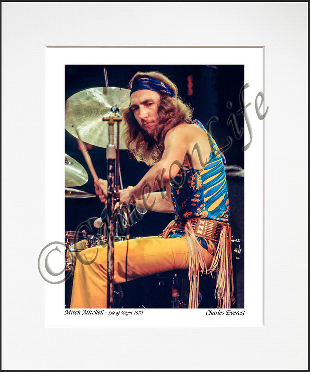 Mitch Mitchell- An affordable archival quality matted print ready for framing at home.<br />  Ideal as a gift or for collectors to cherish, printed on Fuji Crystal Archive photographic paper set in a neutral mat (all mounting materials are acid free conservation grade). <br />  The image (approx 6&quot;x8&quot;) sits within a titled border. The outer dimensions of the mat are approx 10&quot;x12&quot;