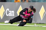 Suzie Bates tries unsuccessfully to save a boundary. Women's T20 international Cricket, Australia v New Zealand White Ferns.  Manuka Oval, Canberra, 5 October 2018. Copyright Image: David Neilson / www.photosport.nz