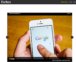 Forbes website; Using Google on a smart phone