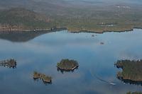 Lakes Biplane flying over Squam Lake. l-r  Mink Island, Basin Island, Chocorua Island (Church Island) and Merrill Island.   November, 2012.