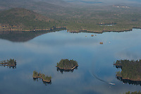 Lakes Biplane flying over Squam Lake. l-r  Mink Island, Basin Island, Chocorua Island (Church Island) and Merrill Island.   November, 2012.