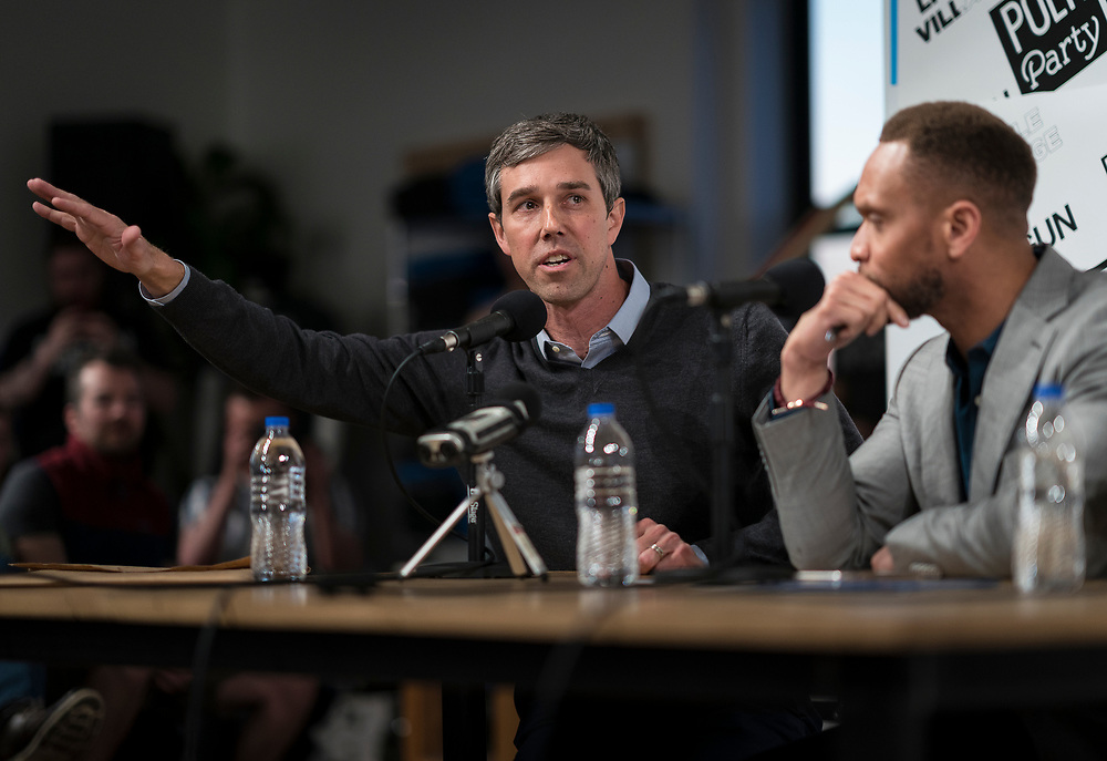 """Democratic 2020 presidential candidate Beto O'Rourke, 46, speaks during the recording of the """"Political Party Live"""" podcast during a three day road trip across Iowa, in Cedar Rapids, Iowa, U.S., March 15, 2019.  REUTERS/Ben Brewer"""