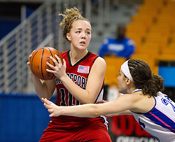Bridgeport forward Hannah Fetty (10) looks to pass the ball against Fairmont Senior during a first round game at the Charleston Civic Center.