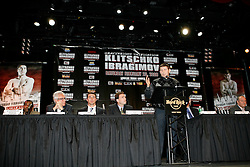 December 4, 2007; New York, NY, USA;   WBO Heavyweight Champion Sultan Ibragimov, speaks at the press conference announcing his February 23, 2008 unification fight against IBF/IBO Heavyweight Champion Wladimir Klitschko.  The two fighters will meet at Madison Square Garden.