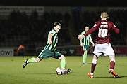 Dannie Bulman of AFC Wimbledon tee's up a cross during the Sky Bet League 2 match between Northampton Town and AFC Wimbledon at Sixfields Stadium, Northampton, England on 1 March 2016. Photo by Stuart Butcher.