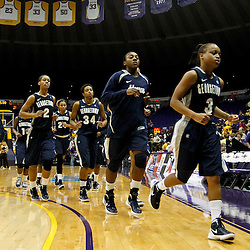 November 16, 2011; Baton Rouge, LA; Georgetown Hoyas players leave the court following a loss to the LSU Tigers at the Pete Maravich Assembly Center. LSU defeated Georgetown 51-40. Mandatory Credit: Derick E. Hingle-US PRESSWIRE