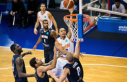 DeVaughn Akoon-Purcell of Bakken Bears and Thomas Laerke of Bakken Bears vs Brandyn Theodore Curry #10 of Helios Suns during basketball match between KK Helios Suns (SLO) and Bakken Bears (DEN) in Round #4 of FIBA Champions League 2016/17, on November 8, 2016 in Sports Hall Domzale, Slovenia. Photo by Vid Ponikvar / Sportida