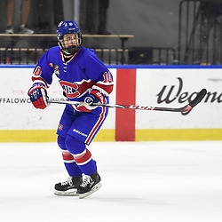 BUFFALO, NY - SEP 20,  2017: Ontario Junior Hockey League Governors Showcase game between the Toronto Jr. Canadiens and Wellington Dukes, Chad Lopez #10 of the Toronto Jr. Canadiens follows the play during the first period.<br /> (Photo by Andy Corneau / OJHL Images)