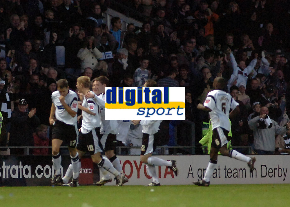 Photo: Kevin Poolman.<br />Derby County v Leicester City. Coca Cola Championship. 25/11/2006. Derby players celebrate their goal.