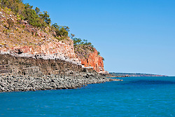 Dramatic red cliffs line the Kimberley coast.