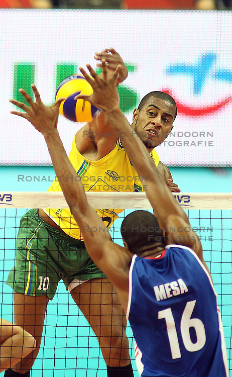 07.09.2014, Spodek, Katowice, POL, FIVB WM, Brasilien vs Kuba, Gruppe B, im Bild Ricardo Lucarelli Santos De Souza // during the FIVB Volleyball Men's World Championships Pool B Match beween Brazil vs Cuba at the Spodek in Katowice, Poland on 2014/09/07. <br /> <br /> ***NETHERLANDS ONLY***