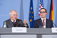 "16 MAR 2017, BERLIN/GERMANY:<br /> Wolfgang Schaeuble (L), CDU, Bundesfinanzminister, und Steven Terner ""Steve"" Mnuchin (R), Fianzminister der Vereinigten Staaten von Amerika, USA, waehrend einer Pressekonferenz nach einem gemeinsamen Treffen, Bundesministerium der Finanzen<br /> IMAGE: 20170316-03-007<br /> KEYWORDS: Wolfgang Schäuble, Steve Mnuchin, Treasury secretary"