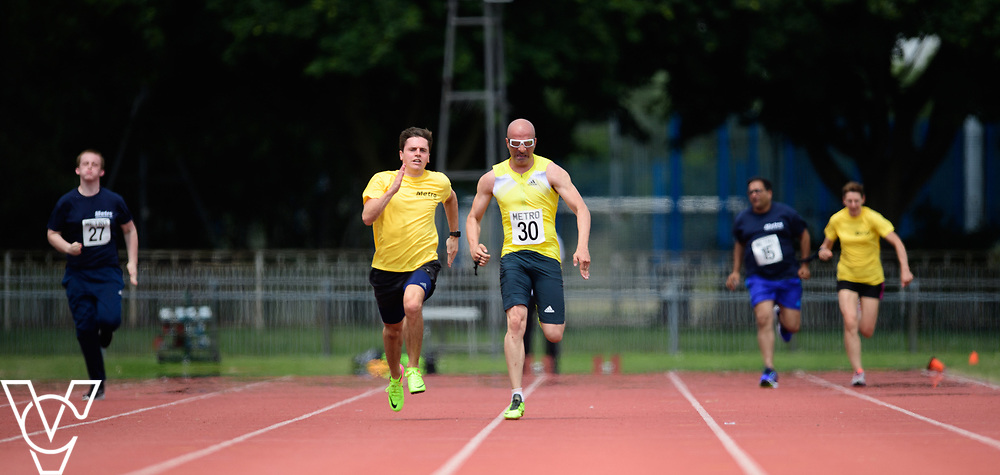 Metro Blind Sport's 2017 Athletics Open held at Mile End Stadium.  100m.  From left, Harrison Lovett, Amir Kamali-Sarvestani with guide runner and Atif Umer with guide runner<br /> <br /> Picture: Chris Vaughan Photography for Metro Blind Sport<br /> Date: June 17, 2017