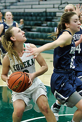 24 January 2019: Ridgeview Mustangs v Eureka Hornets Girls Basketball game during the McLean County Tournament at Shirk Center in Bloomington Illinois