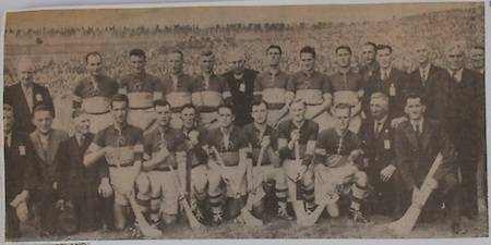 Winners of the 1945 All-Ireland hurling championship, back row, Jack Mockler, Jer Cornally, Jn Maher, H Goldsborough, Tom Wall, Rev Jn Meagher, Flor Coffey, Jim Devitt, Jn Coffey, A Brennan, Johnny Ryan, Jim Maher, Dan Breen, TD, Bill Leahy, Front row, J J Callanan, Phil Purcell, Tommy Butler, Mick Murphy, P Ryan (Sweeper), Jimmy Maher, Tommy Doyle (captain), M Ryan, T Purcell, E Gleeson, Johnny Leahy, T Semple,