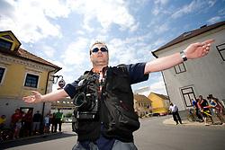 Photographer Borut Dvornik after start in Sentjernej of the 4th stage of Tour de Slovenie 2009 from Sentjernej to Novo mesto, 153 km, on June 21 2009, Slovenia. (Photo by Vid Ponikvar / Sportida)