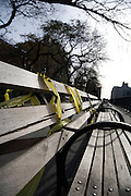 broken wooden park bench