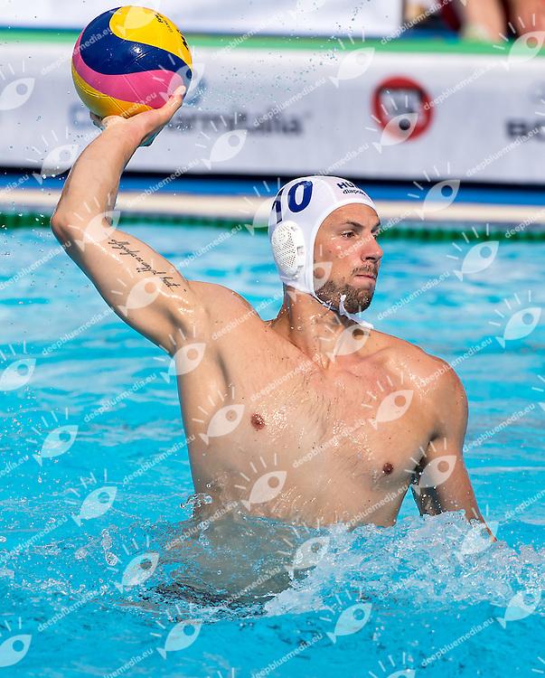 10 VARGA Denes HUN<br /> Hungary HUN (white) - Brazil BRA  (blue)<br /> day 03 - 25/06/2015<br /> FINA Water Polo World League Superfinal Men<br /> Bergamo (ITA) 23-28 June 2015<br /> Photo G.Scala/Deepbluemedia