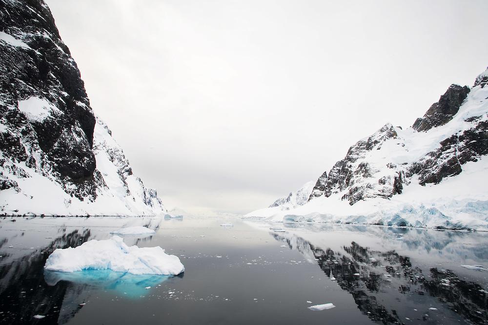 Sailing through the ice flows of Antarctica on the Ocean Nova.