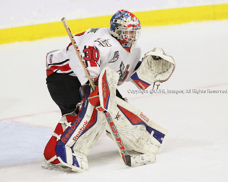 BUFFALO, ON - Sep 23, 2015 : Ontario Junior Hockey League game action between Mississauga and Aurora at the Showcase. Andrew Cipollone #30 of the Mississauga Chargers during the first period.<br /> (Photo by Tim Bates / OJHL Images)