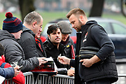 (Caption Correction) Artur Boruc (1) of AFC Bournemouth signing his autograph for fans on arrival at the Vitality Stadium before the Premier League match between Bournemouth and Arsenal at the Vitality Stadium, Bournemouth, England on 14 January 2018. Photo by Graham Hunt.