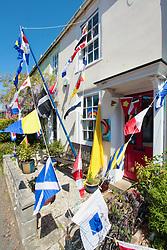 Bunting on 75th anniversary of VE Day, Wareham, Dorset UK May 2020