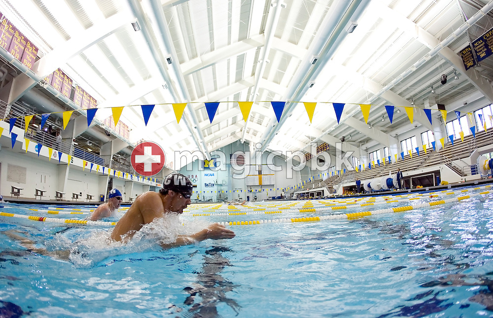 Swimmer Michael PHELPS of the USA is swimming breaststroke during a training session in the Canham Natatorium at the University of Michigan in Ann Arbor, MI, USA, Wednesday, May 21, 2008. (Photo by Patrick B. Kraemer / MAGICPBK)