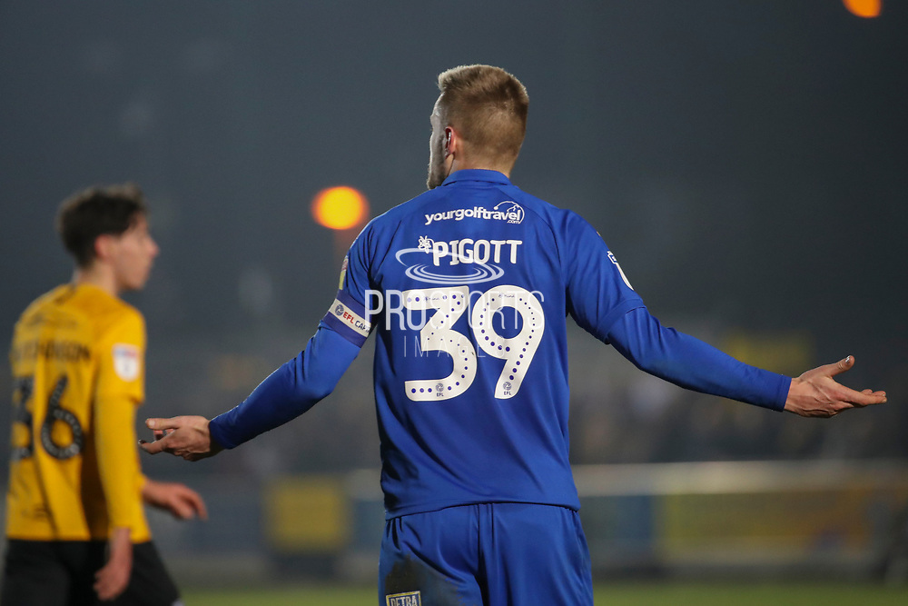 AFC Wimbledon striker Joe Pigott (39) with his arms open during the EFL Sky Bet League 1 match between AFC Wimbledon and Southend United at the Cherry Red Records Stadium, Kingston, England on 1 January 2020.