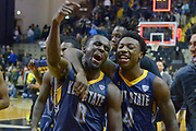 Kent State Golden Flashes guard Jalen Avery (0) and Kent State guard Antonio Williams (4) react after defeating the Vanderbilt Commodores during the second half of an NCAA basketball game in Nashville, Tenn., Friday, Nov. 23, 2018. Kent State won 77-75. (Jim Brown/Image of Sport)
