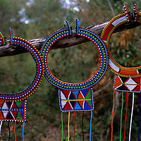 Africa, Kenya. Maasai beadwork necklaces.