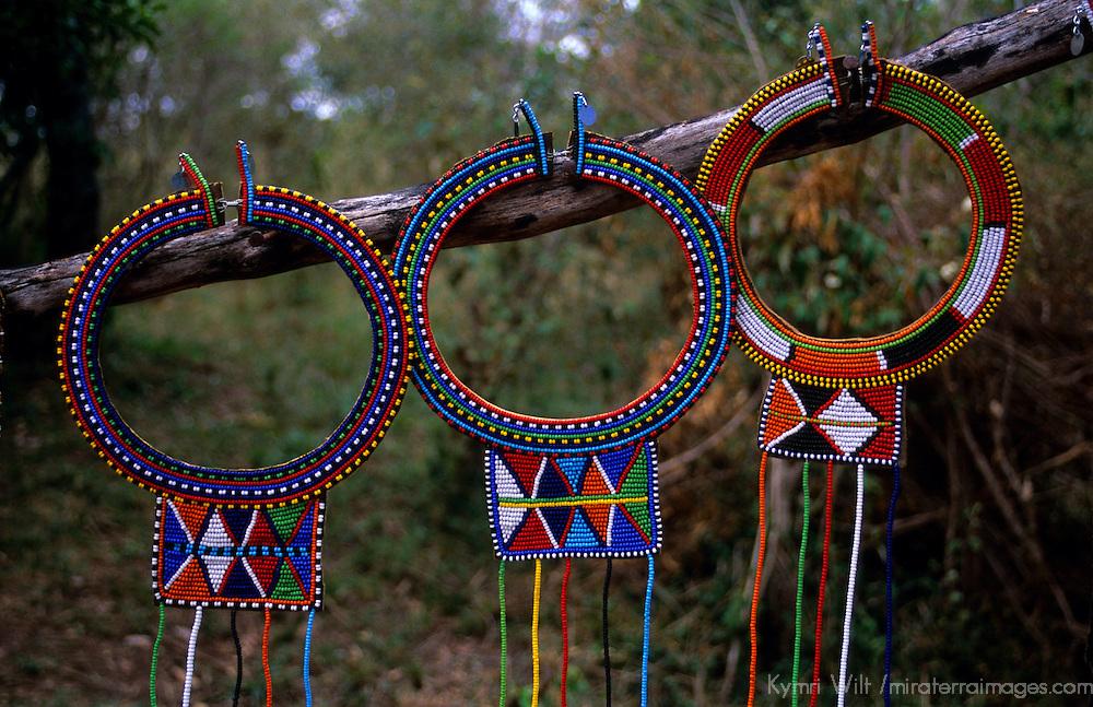 Africa, Kenya. Maasai beadwork necklaces.