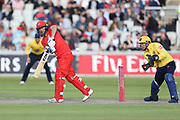 Lancashires Karl Brown during the Vitality T20 Blast North Group match between Lancashire Lightning and Birmingham Bears at the Emirates, Old Trafford, Manchester, United Kingdom on 10 August 2018.