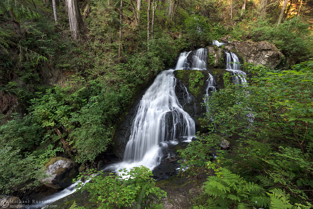 A summer evening at Steelhead Falls near the Reservoir Trail in the Hayward Lake Recreational Area in Mission, British Columbia, Canada