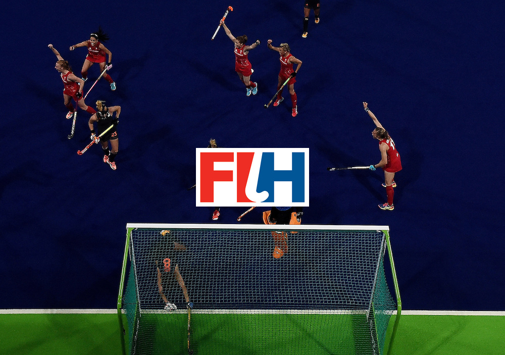 Britain's Nicola White (L) celebrates after scoring a goal during the women's Gold medal hockey Netherlands vs Britain match of the Rio 2016 Olympics Games at the Olympic Hockey Centre in Rio de Janeiro on August 19, 2016. / AFP / MANAN VATSYAYANA        (Photo credit should read MANAN VATSYAYANA/AFP/Getty Images)