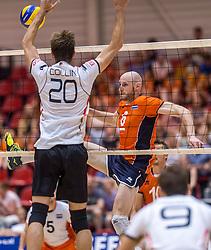 05-06-2016 NED: Nederland - Duitsland, Doetinchem<br /> Nederland speelt de laatste oefenwedstrijd ook in  Doetinchem en speelt gelijk 2-2 in een redelijk duel van beide kanten / Jasper Diefenbach #6, Phillip Collin #20